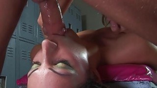 Grabbed by her neck and made to suck on the dick image
