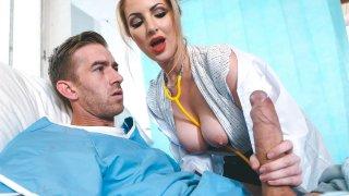 Hot blonde nurse gets a massive facial by a patient image