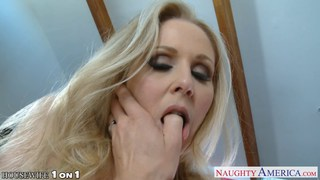 Blonde housewife Julia Ann gives blowjob in POV image