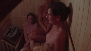 Hidden Cam Catches three Girls in Sauna image