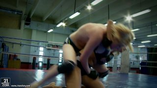 Image: Furious bitch Daikiri fights on a ring with another feisty chick