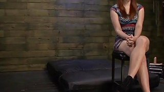 Busty redhead slut Rose Red with huge ass deepthroated and fucked rough image