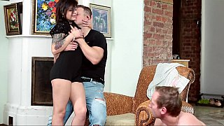 Humiliated cuckold forced_to watch his wife bang image