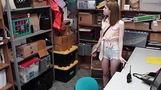 Skinny teen thief Alina West gets a facial image