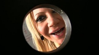 Whorish blondie Christina Skye doesn't mind sucking a dick in the toilet image