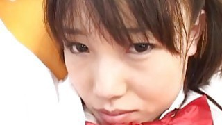 Asian teen sucks cock for cumshot while hands are tied image