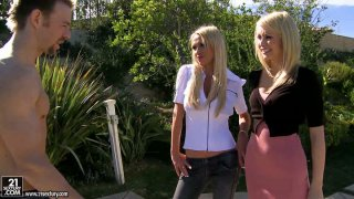 Nikki Benz and Monique Alexander start pleasing each other outdoors and invite a stranger to join them image