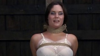 Image: Gagged beauty with clamped_teats acquires wild joy