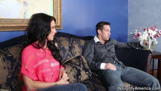 Brunette hottie Tiffany Mynx has a quickie with a slender dude image
