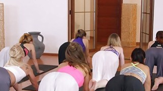 Yoga teacher bangs two babes_in threesome image