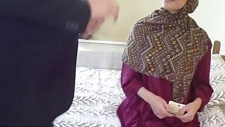 Shameless Arab wife enjoying big thick cock lover caught by husband having actual sex image