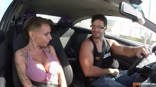 Big tittied hooker Gina Snake is picked up and fucked in the car image