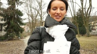 Cold winter weather don't stop Martina from giving a head_for money image