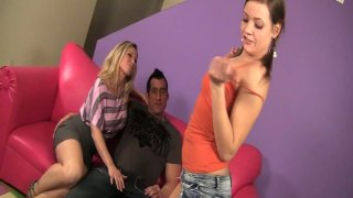 Sexy teen chicks Devon Lee and Ashlynn Leigh give a hot blowjob to Billy Glide image