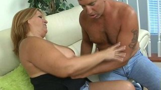 Spoiled mom lures Latin dude with her oversized clit image