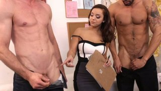 Black head Liza del Sierra provides a questioning whose cock is longer image