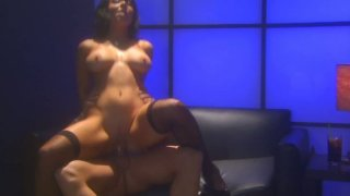 Buxom brunette in stockings_Beverly_Hills gets her cooch drilled doggy image