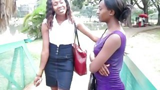 Two sexy ebony chicks decide to have a lesbian adventure in a public toilet image
