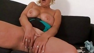 Real busty tits blonde granny fingering her mature shaved pussy for foreplay image
