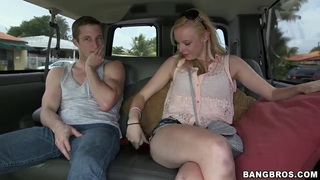 Cute girl Sunny Marie is seduced for fuck by her two boyfriends in their car; she showed them boobs and got fucked. image