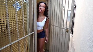 Ebony babe gets pounded at the office image