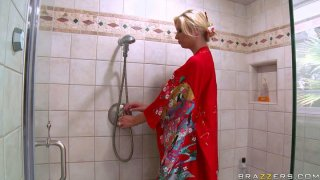 Tempting showering and foaming by busty blonde Brooke Banner image