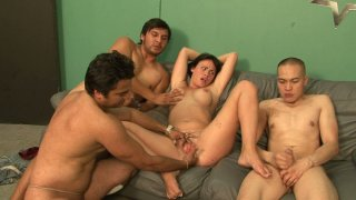 One zesty brunette chick_Ashli Ames VS three_well hung dudes image