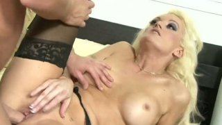 Bootylicious blond clown face Monica Mayhem pushes a fat cock into her mouth image