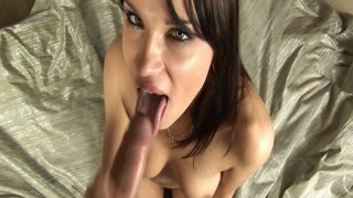 Fantastic girl Angel Rivas gives amazing blowjob and plays with cum image