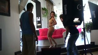 Watch the porn industry kitchen while filming Sandra in a threesome action image