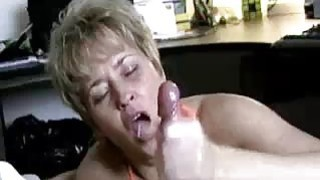 Milf Helps Lucky Guys Cock Spurt With Jizz image