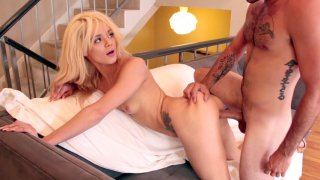 Blonde cutie Elsa Jean getting tight pussy poked from behind image