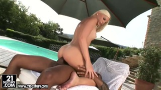 Laura King has sex with black man near pool image