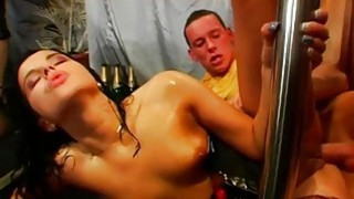 Guys receive moist pleasuring from horny darlings image