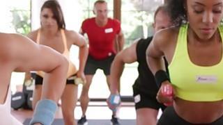 Ebony lesbian babe rubs_brunette babe in gym image