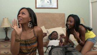 Thick black girlfriends DVae and Anita Peida giving blowjob image