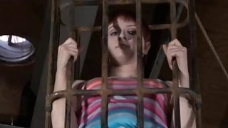 Gagged cutie acquires violent whipping on her tits image