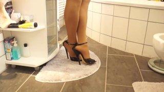 Sexy Black 17cm High Heels Sandals walking Bathroom image