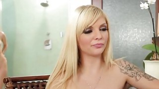 Sexy Aaliyah Love seduces innocent blondie with a massage image