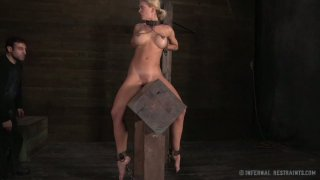 Lusty blonde mom Cyd Black sits on the wooded brick all naked image