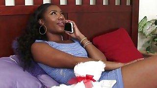 ebony lesbian Chanell bangs Jezabel with strap on image