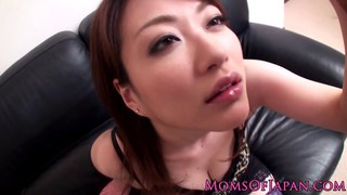 Japanese mom Akari Hoshino in stockings pov titjob image