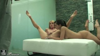 Eve Angel and her blonde friend stick all kinds of shit in their pussies image
