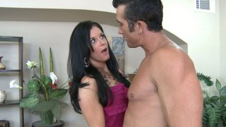 Handsome dude getting a hot blowjob from India Summer image