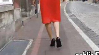 Woman in a red dress walking around - walk hd Online movie image