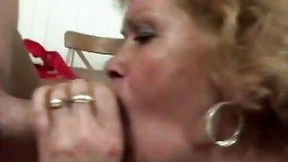 Horny man licks lusty granny's hairy pussy before he fucks her very hard image
