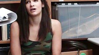 Pretty brunette teen shoplifter gets_screwed in LP office image