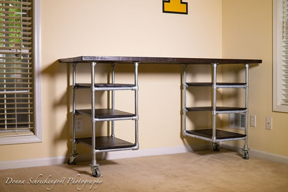 Industrial Pipe Desk   Shelving Plans   Simplified Building Industrial Pipe Desk with Shelving