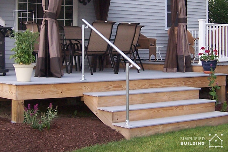 14 Exterior Handrail Ideas Simplified Building | Exterior Wood Handrails For Steps | Attached | Ready Made | Off Deck | Stoop | Pinterest