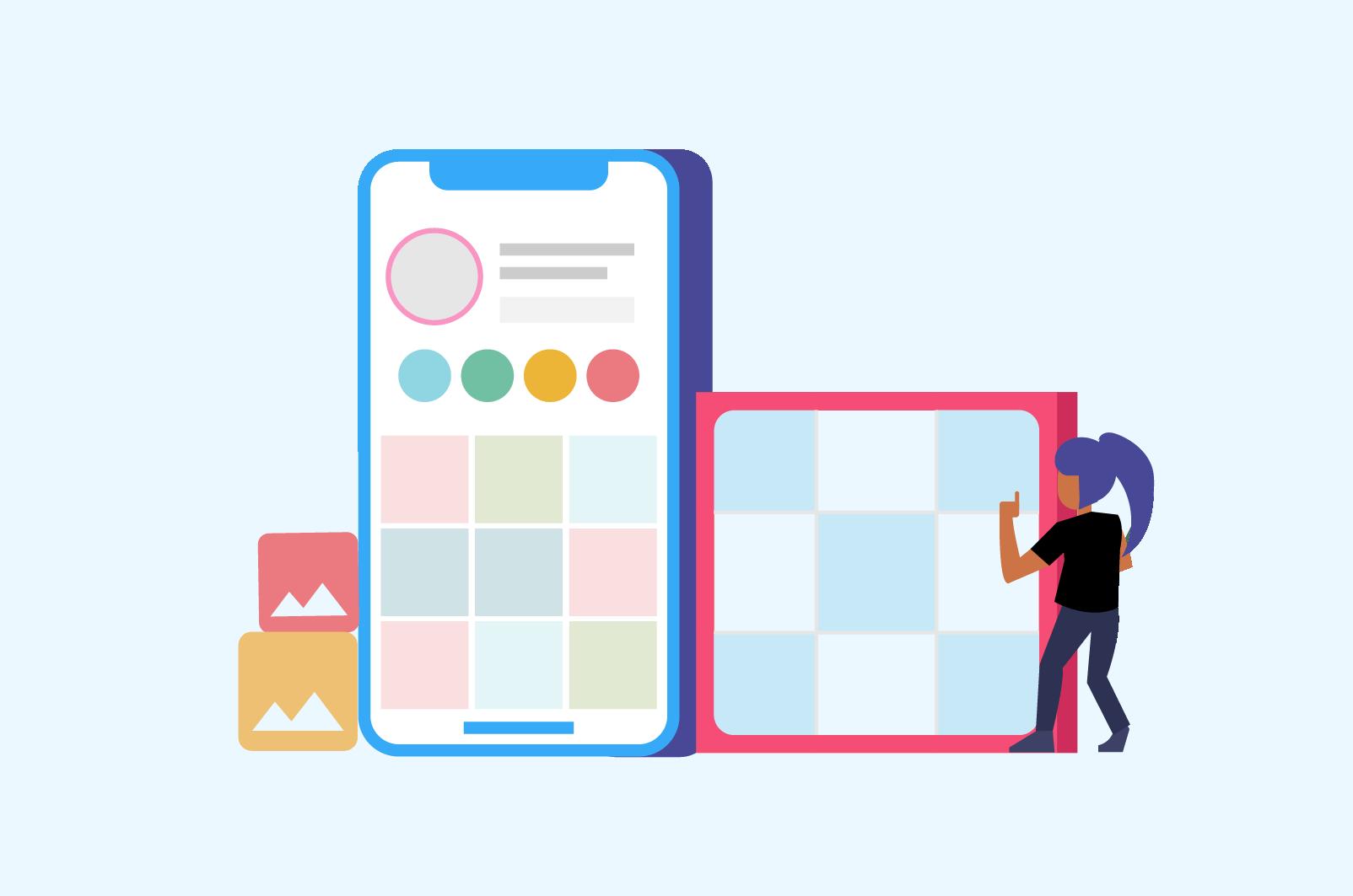 grid layout app for instagram planning